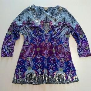 One World Sequin Bling Graphic Print 3/4 sleeve